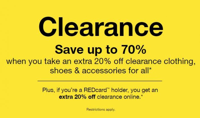 73a460739b06 Through December 31, Target is offering an extra 20% on Men's, Women's and  Kids' Clearance clothing, shoes and accessories!