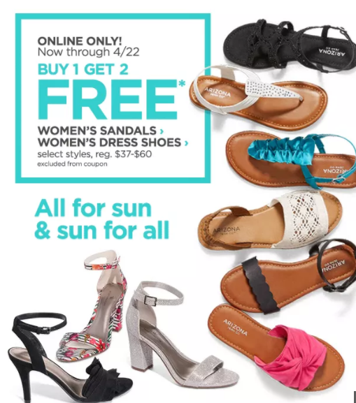 6e87c9f99a5e JCPenney has brought back this AWESOME deal for their Women s Sandals and Flip  FLops! Hurry it Ends tomorrow! Buy 1 select pair of sandals or flip flops  and ...