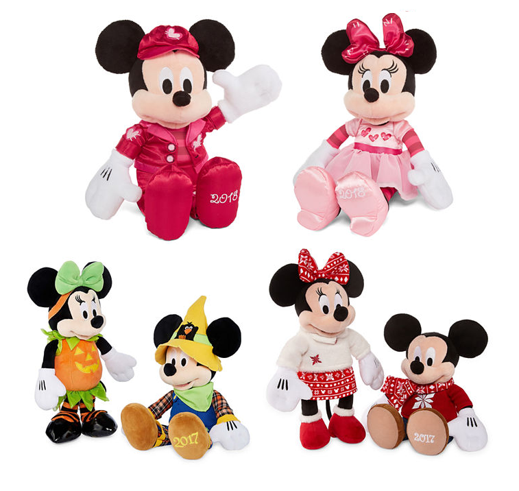 Christmas Minnie Mouse Plush.Disney Mickey Mouse And Minnie Mouse Holiday Plush Toys From