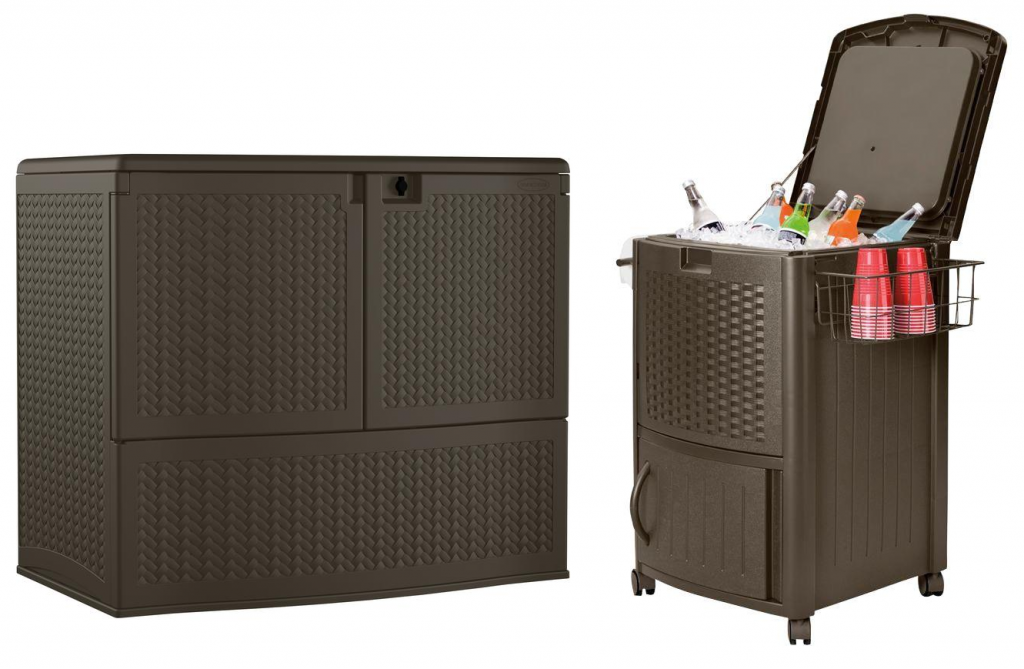 Suncast Back yard Oasis 195 Gal. Storage and Entertaining Station for  $169.99 (Reg $260) & Suncast 77 Qt. Resin Wicker Cooler with Cabinet for  $99 (Reg ... - Suncast Back Yard Oasis 195 Gal. Storage And Entertaining Station