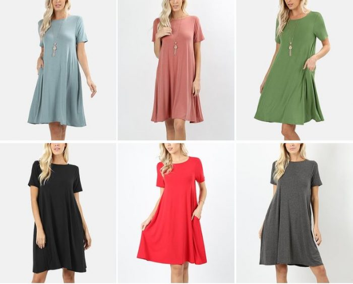 ac058f2a18f I imagine I d live in one of these comfy Short-Sleeve Shift Dresses with  Pockets in the summertime. They re on sale for only  14.79 in a variety of  colors ...