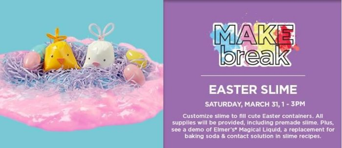 Michael s kids club free easter slime plus spring make for Michaels arts and crafts class schedule