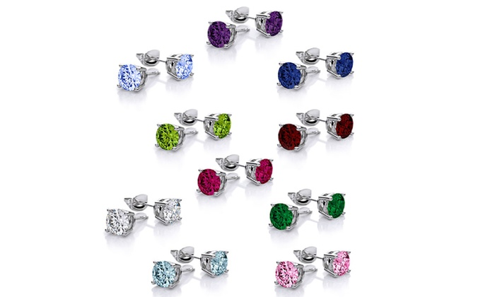 18k White Gold Plated Stud Earrings With Swarovski Elements 10 Pair For 15 99 Today Only