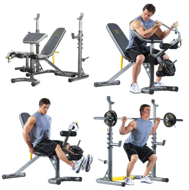 Gold s gym xrs olympic workout bench with squat rack for
