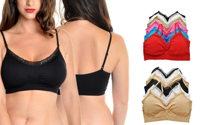 9d68a1479d8 Lace-Trimmed Seamless Bralettes with Convertible Straps (6-Pack) for just   17.99  Only  3 for Each