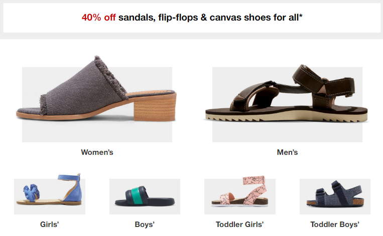 2fdbe1ece898 Target  40% off Summer Shoes for the Family! FlipFlops  2.39 ...