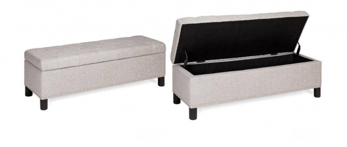 48 Inch Tufted Upholstered Padded Storage Ottoman Bench W Studs