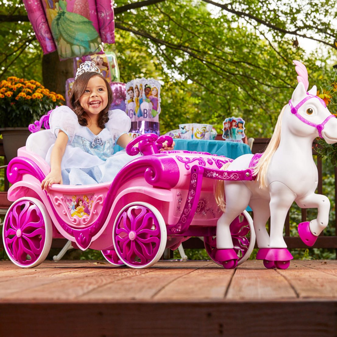 Disney Princess Royal Horse And Carriage Girls 6v Ride On Toy For