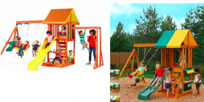 Kid Kraft Cedarbrook Wood Playset For 34999 Or Sun Bistro Swing