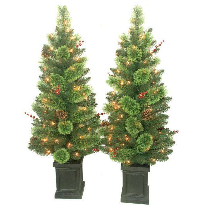 Artificial Christmas Tree Sale Home Depot: Set Of TWO 4 Ft. Pre-Lit Artificial Christmas Savannah