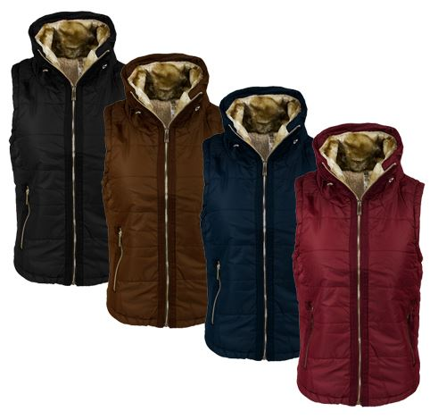 4944caf117855 This women's down full zip vest features a Sherpa lined inner layer for  warmth and comfort. Choose from 6 colors in sizes small to xx-large.