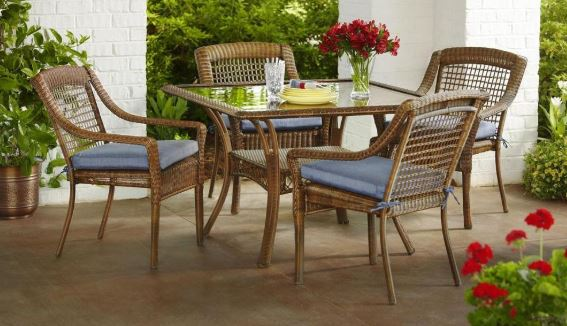 Superb Spring Haven Brown 5 Piece All Weather Patio Dining Set Home Interior And Landscaping Ologienasavecom
