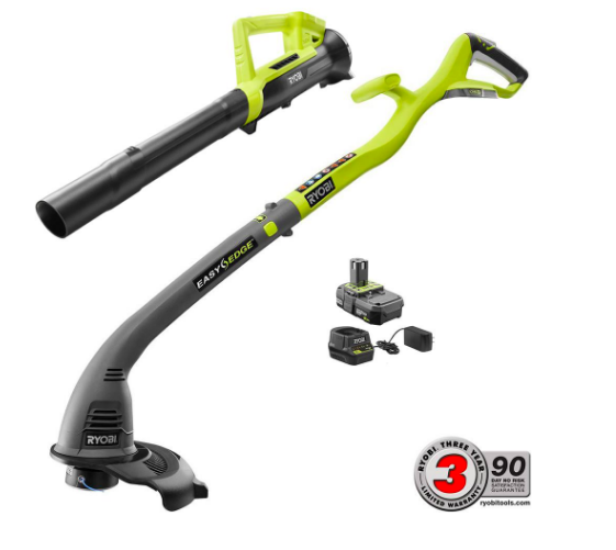 RYOBI ONE+ 18-Volt Lithium-Ion String Trimmer/Edger and Blower Combo