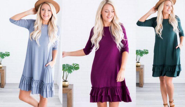 Plus Size Ruffle Hem Dress for $11.48 Shipped (Reg $39.99 ...