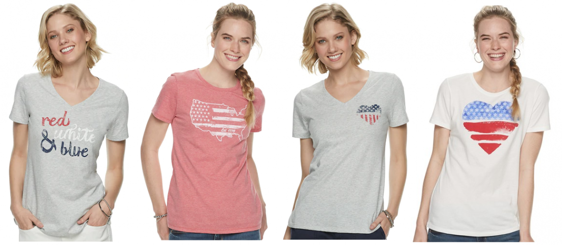 642bece8f141 These tees are cute and such an awesome price! Choose from sizes x-small to  xx-large in a v-neck or crew neck. Women's SONOMA Goods for Life ...