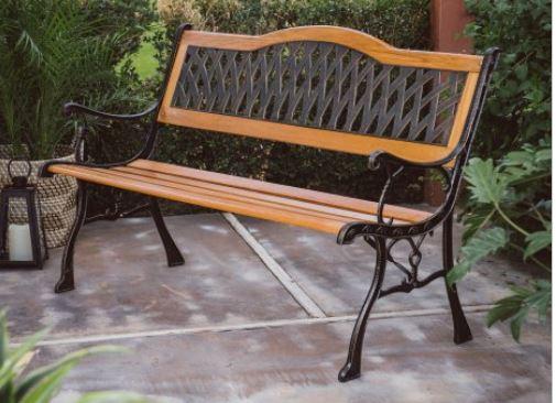 Tremendous Coral Coast Fara Wood Metal 50 Curved Back Garden Bench Inzonedesignstudio Interior Chair Design Inzonedesignstudiocom