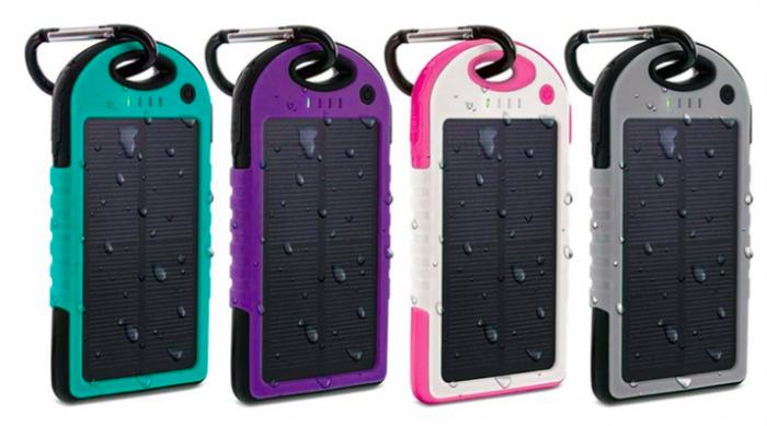 Aduro PowerUp Solar 6000mAh Dual USB Backup Battery- Pink, Purple, Turquoise, or Grey
